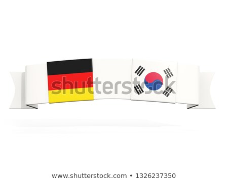 Afiş iki kare bayraklar Almanya Güney Kore Stok fotoğraf © MikhailMishchenko