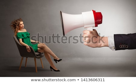 Elegant model sitting opposite with a big loudspeaker Stock photo © ra2studio