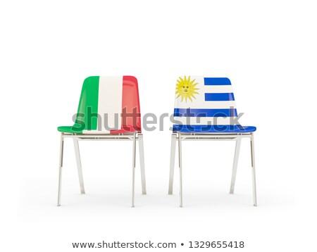 два стульев флагами Италия Уругвай изолированный Сток-фото © MikhailMishchenko