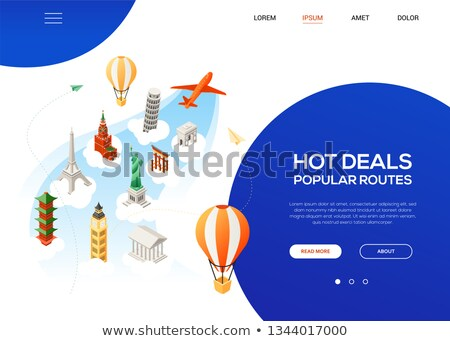 Hot deals, popular routes - colorful isometric web banner Stock photo © Decorwithme
