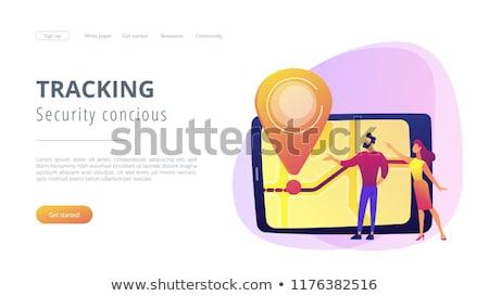 Szkolny autobus lądowanie strona rodziców patrząc lokalizacja Zdjęcia stock © RAStudio