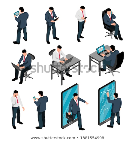 Businessman holding tablet and sitting on chair isometric 3D illustration. Stock photo © RAStudio
