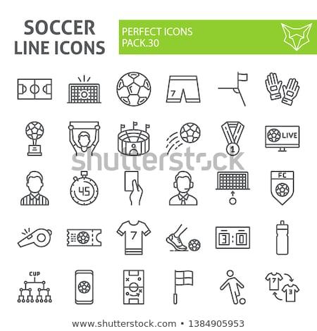 サッカー コメンテーター アイコン ステンシル デザイン スポーツ ストックフォト © angelp