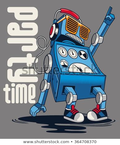 funny robot cartoon comic character Stock fotó © izakowski