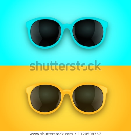 Retro Stylish Sunglasses, Trendy Vector 3D Shades Stock fotó © pikepicture