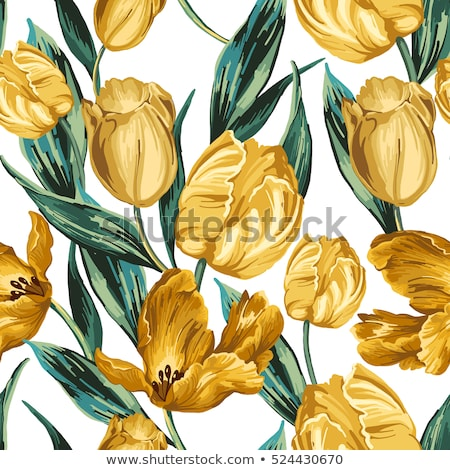 spring tulips flowers pattern on a yellow background stock photo © artjazz