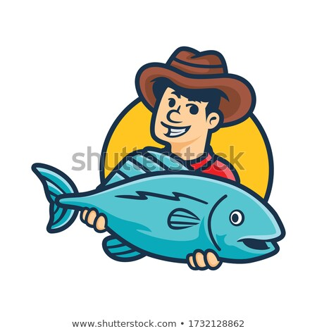 Fisherman Holding Pike, Fish and Rod, Hobby Vector Stock photo © robuart