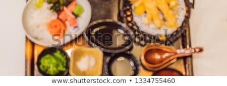 blured photo background japanese bento set food at a japanese restaurant vertical format for insta stock photo © galitskaya