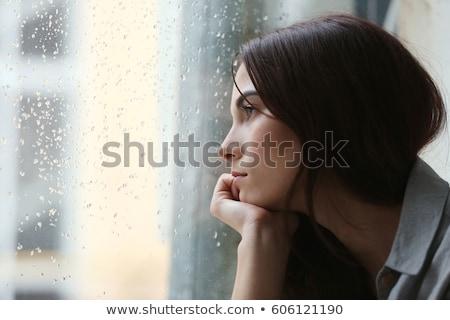 Donna finestra vicino bere triste piangere Foto d'archivio © Lopolo