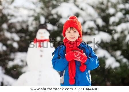 детей · здании · снеговик · саду · девушки · снега - Сток-фото © monkey_business
