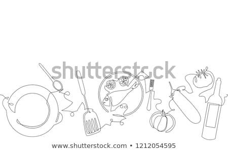 Stock photo: Bistro Icons Line Art