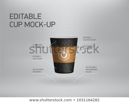 круассан бумаги чашку кофе завтрак вектора иллюстрация Сток-фото © cidepix
