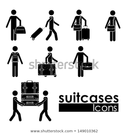Turista utazás hátizsák csomagok monokróm vektor Stock fotó © pikepicture