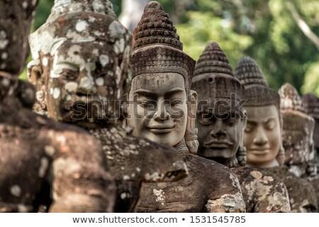 Temple angkor eau réflexion Cambodge visage Photo stock © lichtmeister