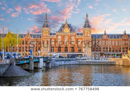 Amsterdam · estação · de · trem · viajar · história · holandês - foto stock © borisb17