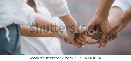 friendship day banner of diversity people hands stock photo © cienpies