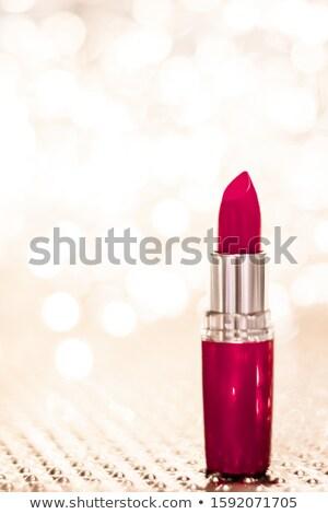 Kastanjebruin lippenstift gouden christmas nieuwe jaren Stockfoto © Anneleven