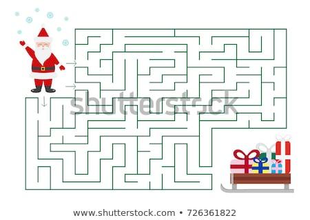 vonalak · labirintus · játék · mikulás · betűk · rajz - stock fotó © izakowski
