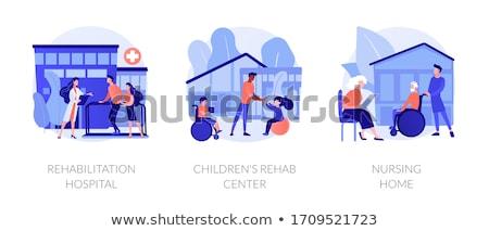 kézzel · rajzolt · gyerekek · sziluettek · szivárvány · kezek · szemek - stock fotó © rastudio