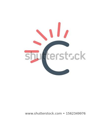 Letter C logo icon with rays or sunburst. template logo design. Stock Vector illustration isolated o Stock photo © kyryloff