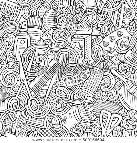 cartoon · kapsalon · symbolen · objecten · communie - stockfoto © balabolka