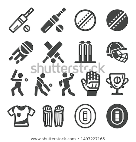 Silhouette of Cricket Player Icon Vector Outline Illustration stock photo © pikepicture