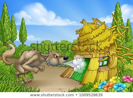 Big Bad Wolf Three Little Pigs Blowing Down House Stock photo © Krisdog