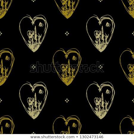 Goud menselijke hart geometrisch patroon vector liefde Stockfoto © beaubelle