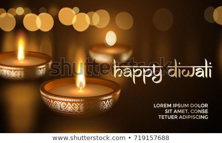 Diwali light festival banner of gold diya candle Stock photo © cienpies