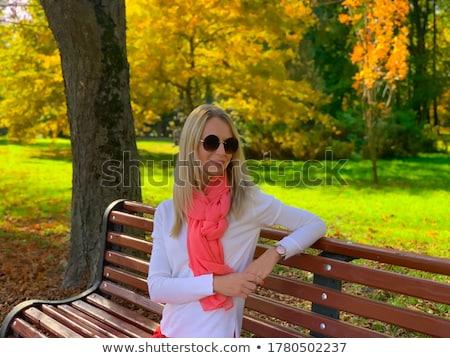 Bella felice giovani donna bionda seduta panchina Foto d'archivio © deandrobot
