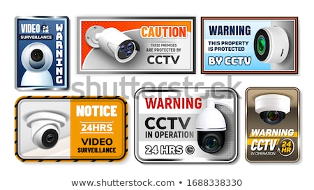 Caution Protect Cctv Nameplates Posters Set Vector Stock photo © pikepicture