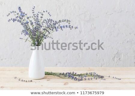 Bos lavendel witte vaas houten tafel rustiek Stockfoto © dashapetrenko