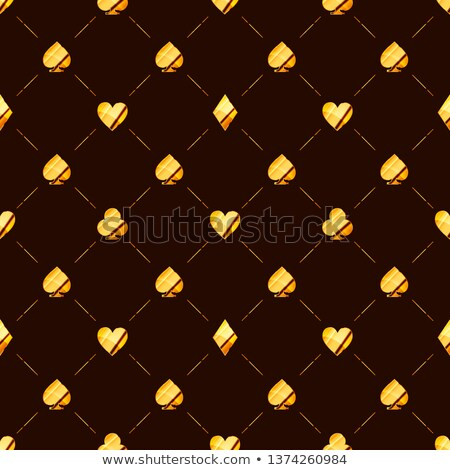 Luxury seamless pattern with bright glossy golden card suits icons like hearts, diamond, spades on b Stock photo © evgeny89