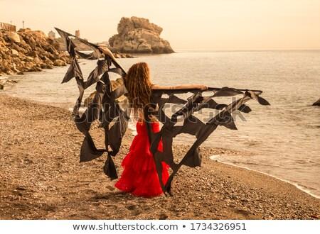 Árabe · dançarina · deserto · mar · dança · posando - foto stock © fxegs