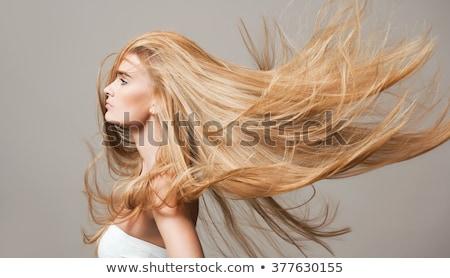 mooie · vrouw · lang · haar · mooie · jonge · vrouw · lang · zwart · haar - stockfoto © iofoto