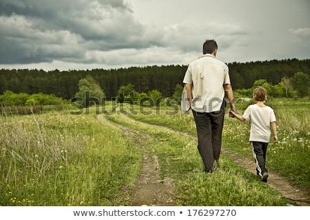 Kicsi fiú messze nyár mező Stock fotó © pekour