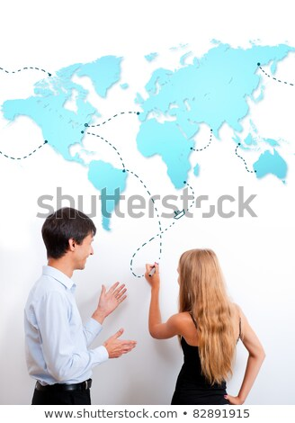 Logistics lesson. Teacher helping to his student with heading. T Stock photo © HASLOO