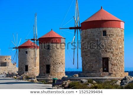 kikötő · bejárat · öreg · kikötő · Görögország · kék - stock fotó © wjarek