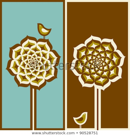 Stock photo: Cute bird and arabesque tree. Vector illustration.