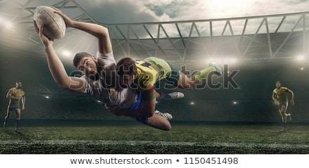 Rugby détaillée silhouette vecteur format facile Photo stock © abdulsatarid