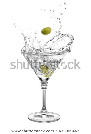 wodkamartini · zwarte · voedsel · groene · witte · olijfolie - stockfoto © alexeys