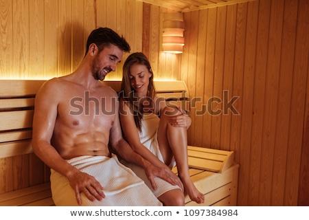 Feliz sauna Finlândia para cima cura Foto stock © dotshock