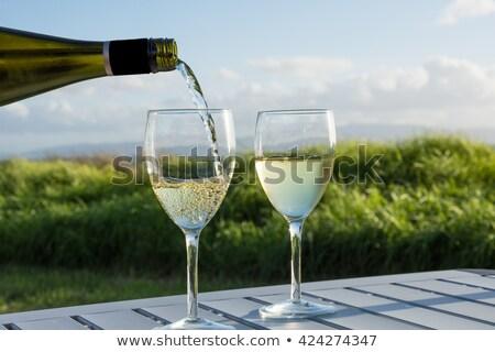 Wine Toast Glasses and Chardonnay Outdoors Stock photo © saje