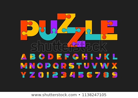 vector colorful puzzle lettering stock photo © orson