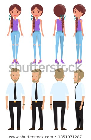 young woman in jeans and high heels shoes presenting stock photo © feedough