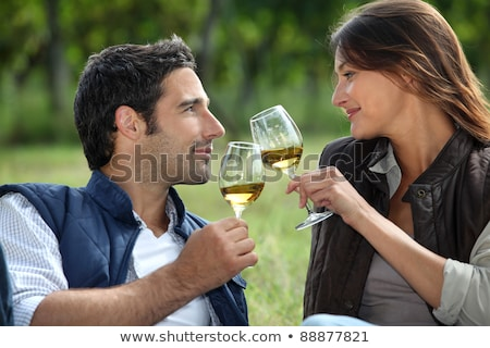 couple drinking wine in field stock photo © photography33