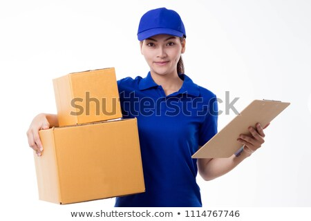 a couple in front of a pile of cartons Stock photo © photography33