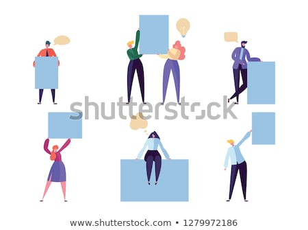 Man with business card and advertising panel Stock photo © photography33