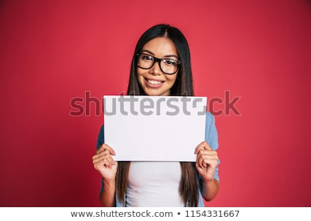 Smiling Asian lady with blank sign Stock photo © stryjek