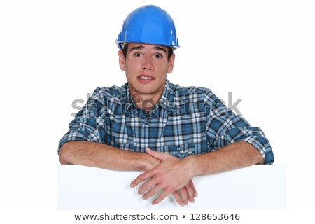 Anxious builder stood with blank board Stock photo © photography33